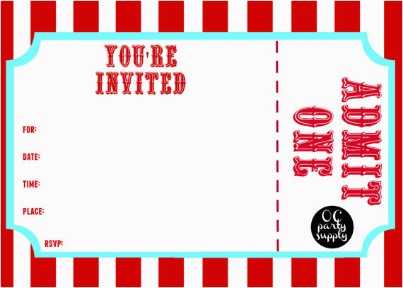 Admit One Ticket Birthday Invitation 25 Images Of Carnival Template