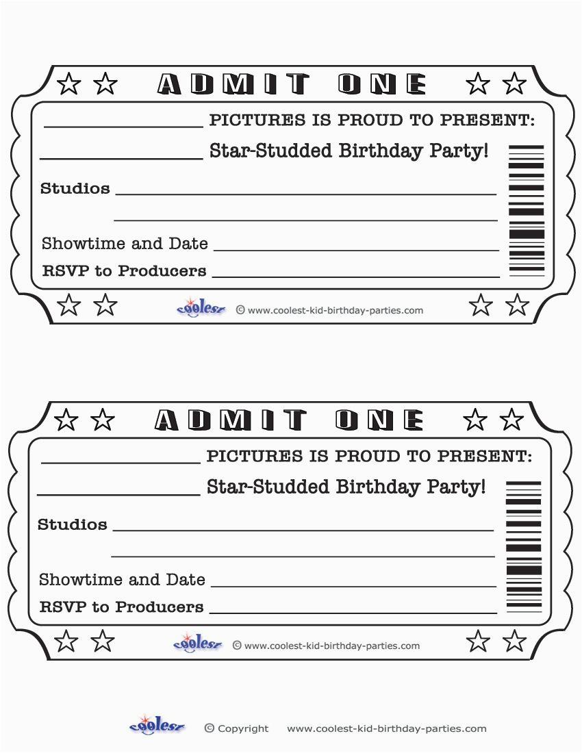 Admit One Ticket Birthday Invitation Printable Invitations Coolest Free Printables
