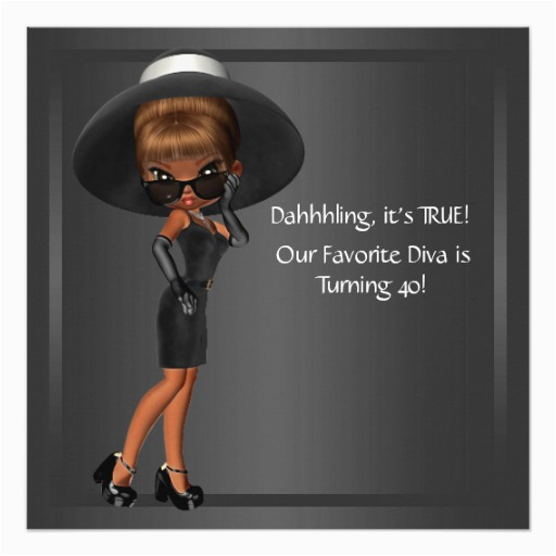 diva womans african american birthday party invitation 161119019049245313