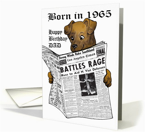 born in 1965 newspaper with dog reading for dad card 376270