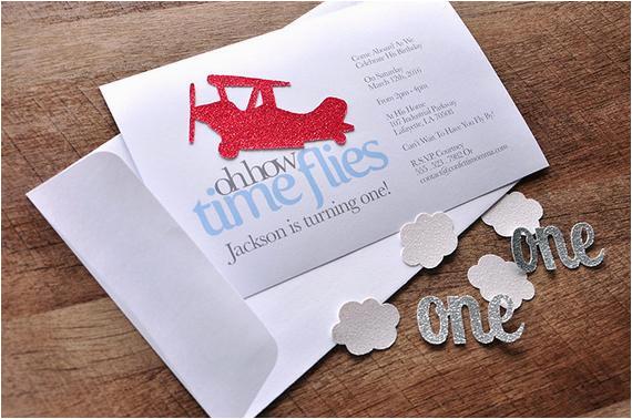 airplane 1st birthday invitations and