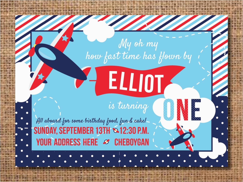 airplane birthday invitation first