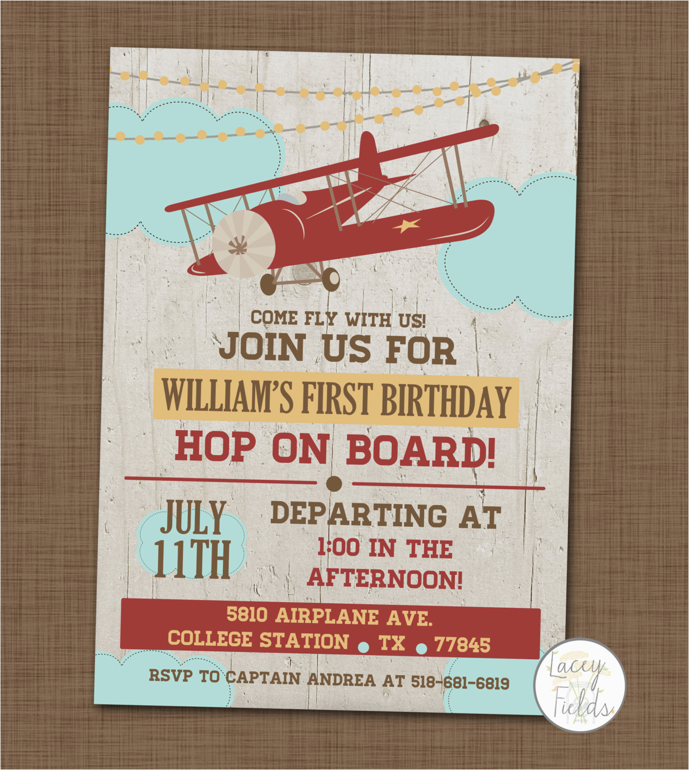 airplane birthday party invitation first