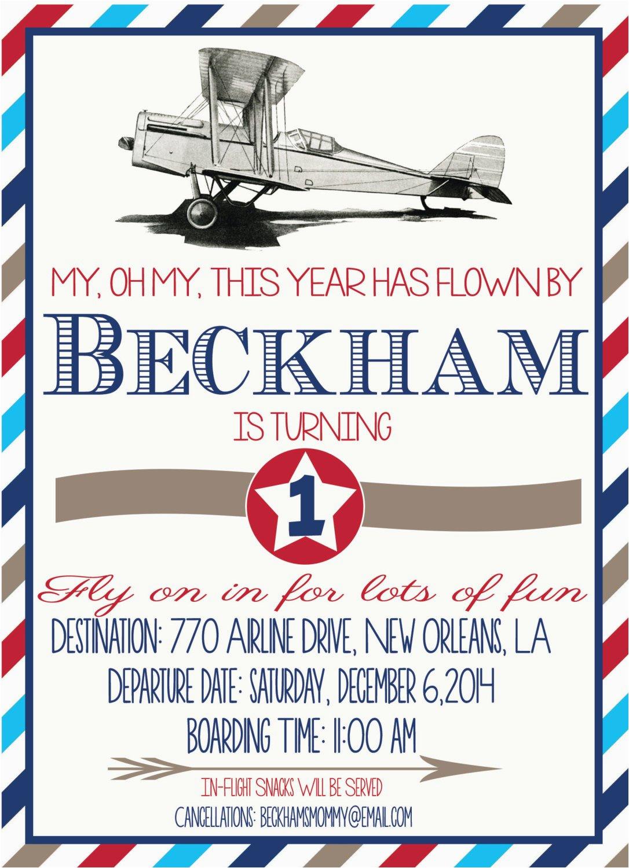 vintage airplane birthday invitation