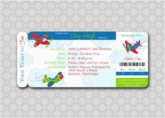airplane boarding pass birthday invitation printable