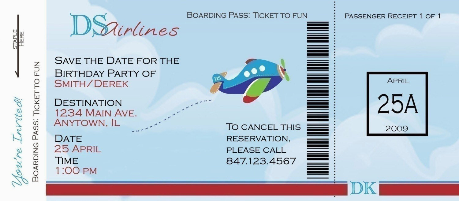 airplane boarding pass birthday