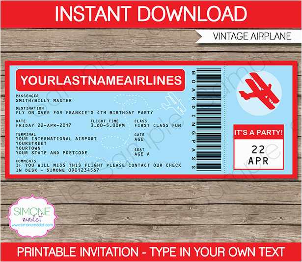 airplane boarding pass invitations template