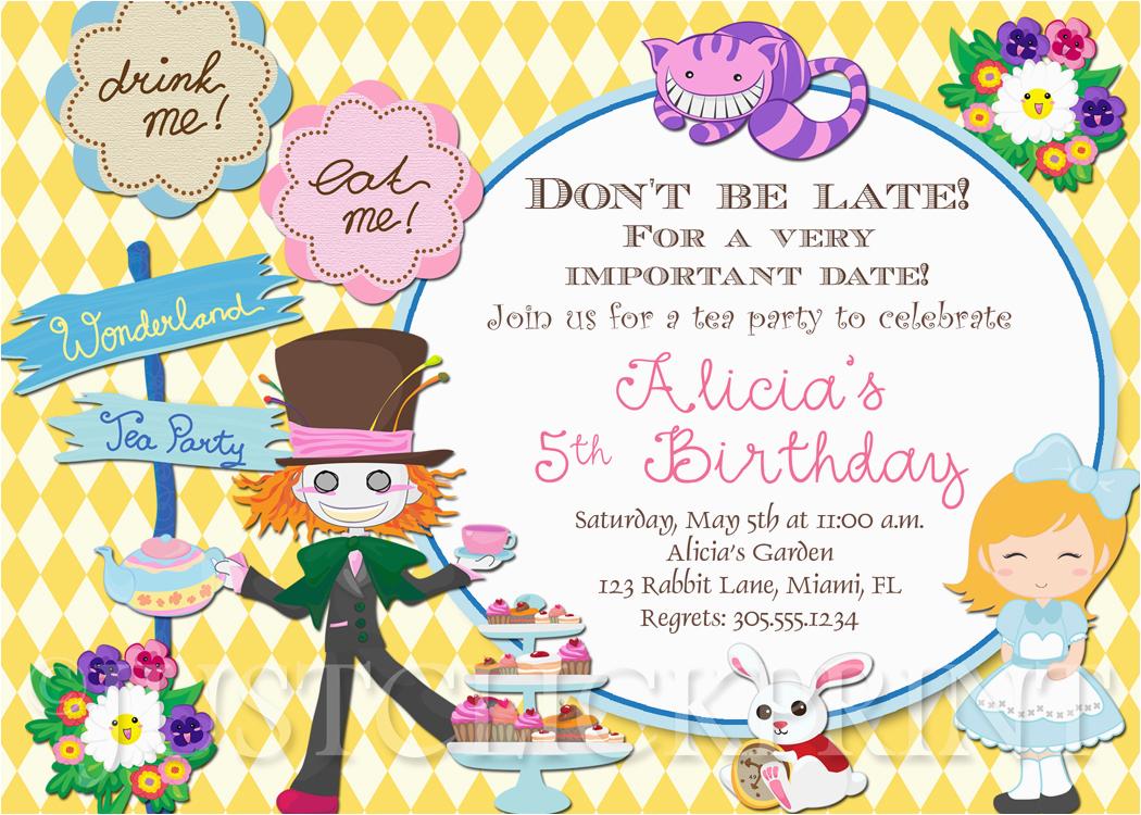 alice in wonderland birthday invitations drevio