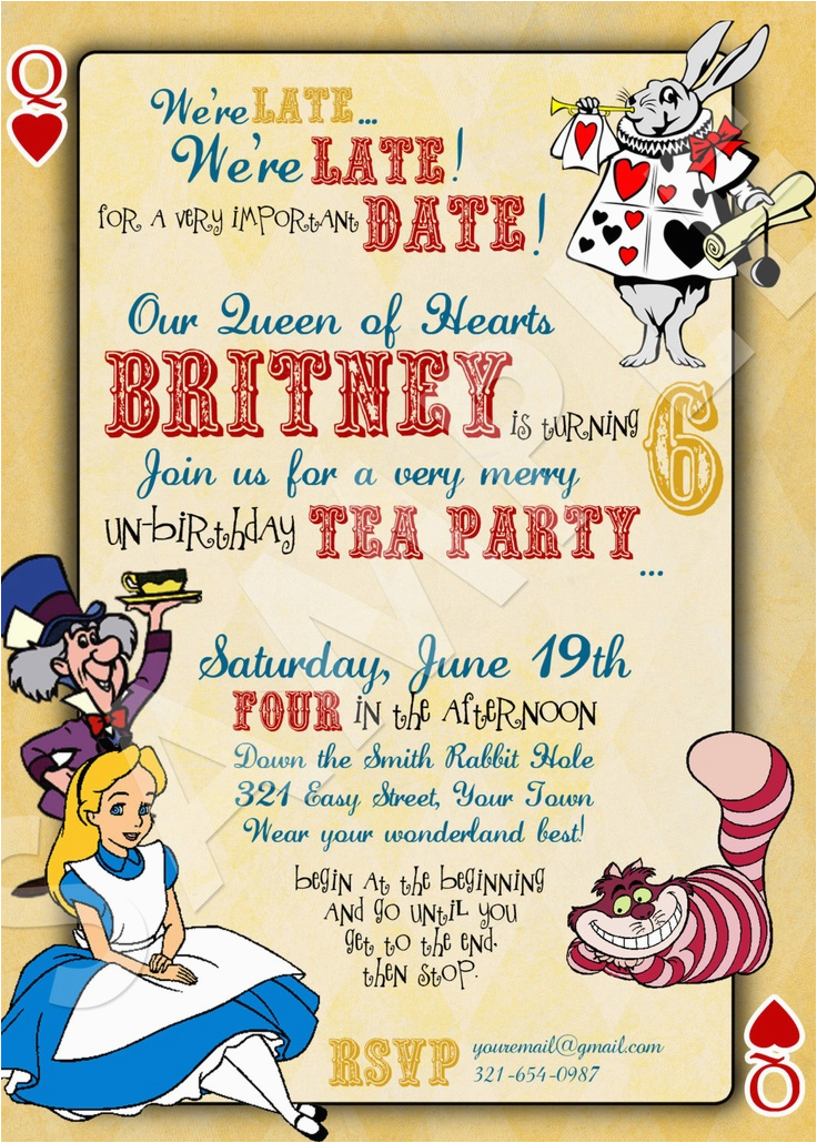 alice in wonderland birthday invitations free invitation
