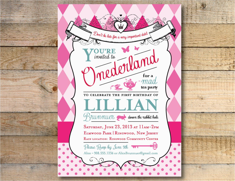 Alice In Wonderland 1st Birthday Invitations Alice In Wonderland Invitation 1st Birthday Party