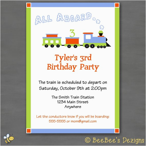 All Aboard Birthday Invitation All Aboard Train Birthday Party Invitation