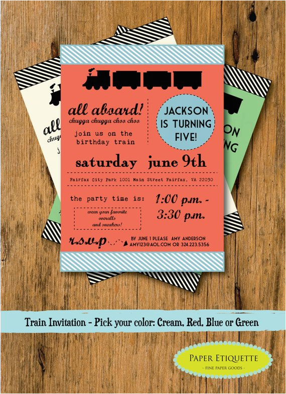 train invitation all aboard birthday