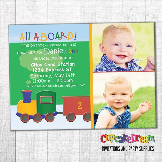 personalized birthday invitations boy train choo