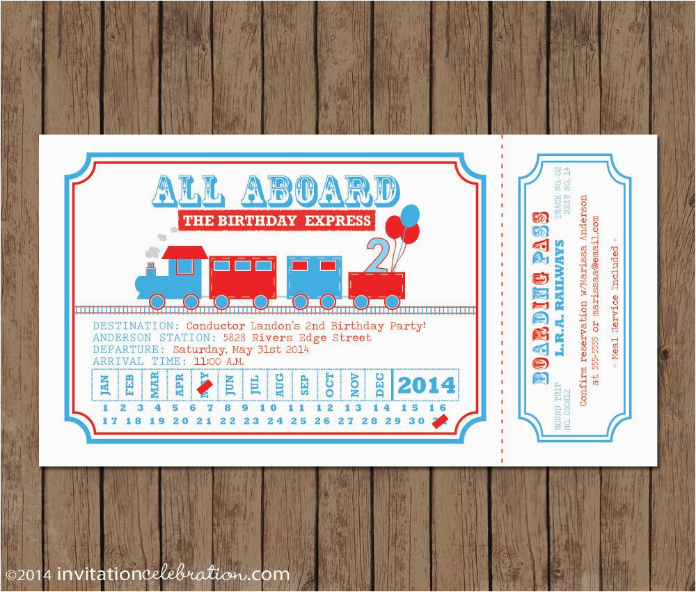 train ticket invitation birthday all