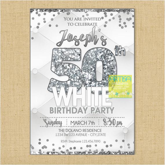 all white party invitation milestone