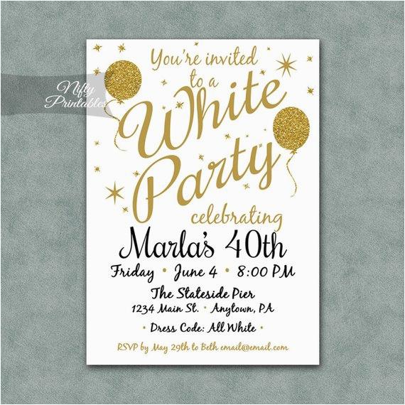 white party invitation printable white
