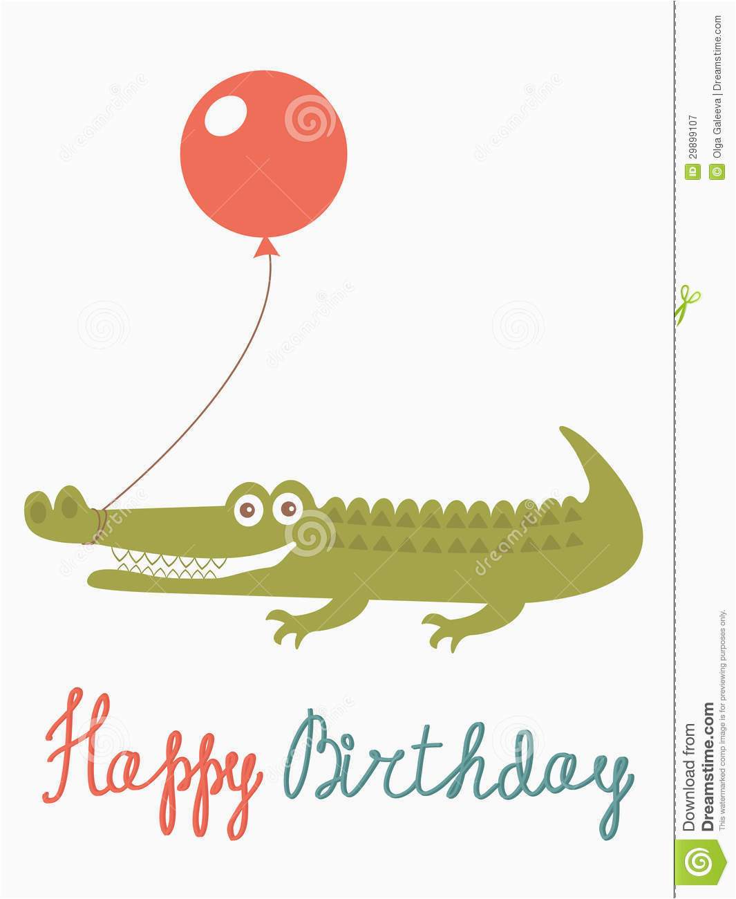 happy birthday card with alligator holding balloon stock