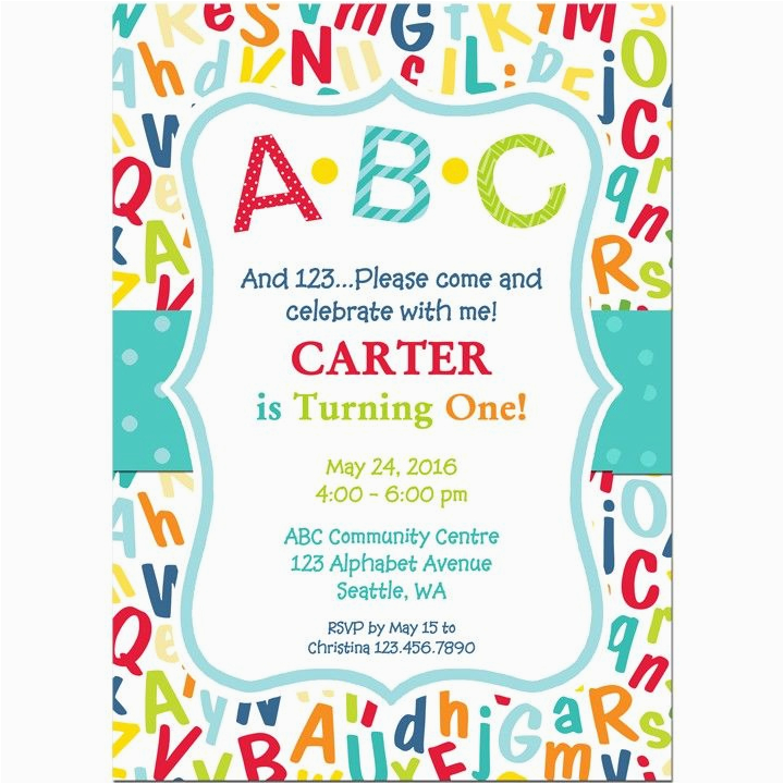 abc 123 birthday party invitation abc pinterest
