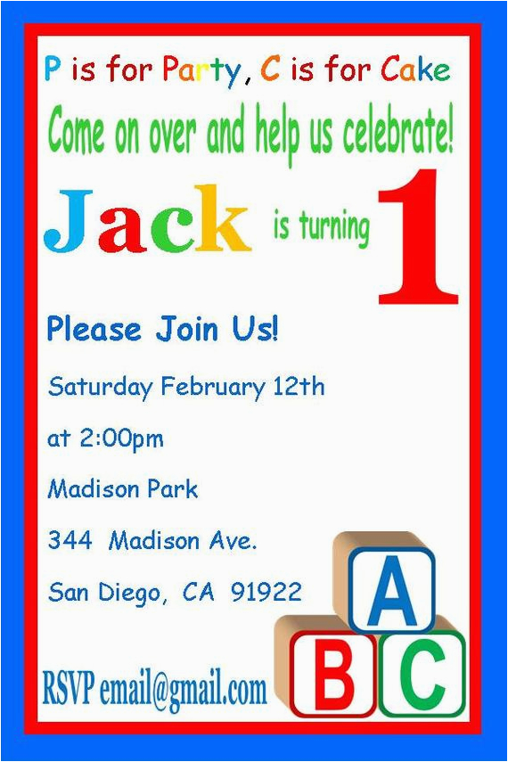 Alphabet Birthday Invitations Abc Birthday Invitation