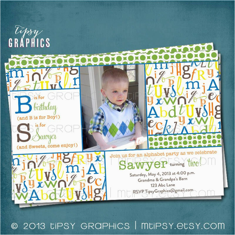 alphabet birthday party abc photo card invitation any colors