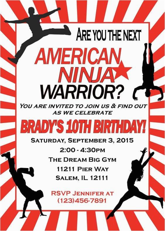 American Ninja Warrior Birthday Party Invitations 17 Ideas For Any Age