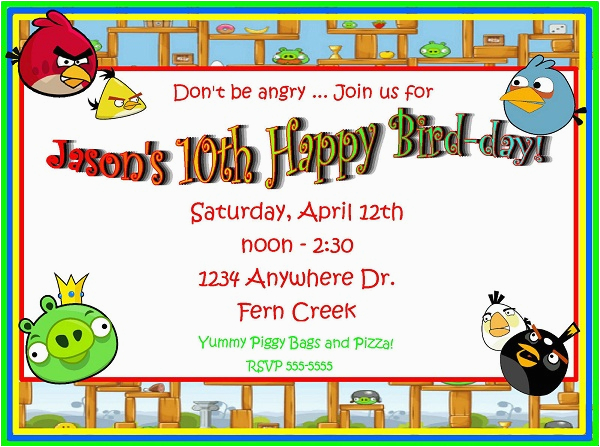 Angry Birds Birthday Party Invitations