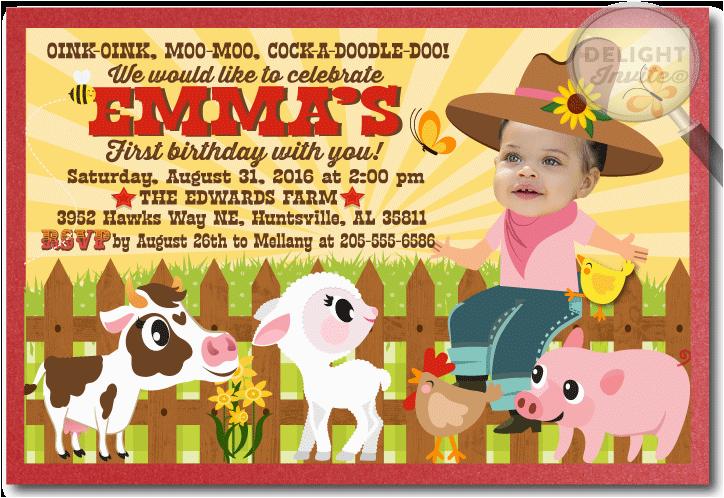 barnyard farm animal birthday invitation p 2181