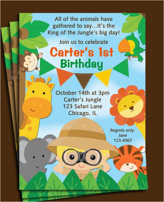 Animal Birthday Invites Invitation Printable Or Printed With Free Shipping