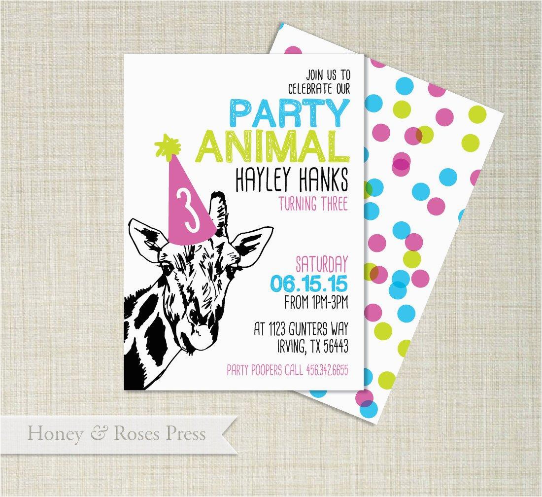 party animal birthday invitation girl