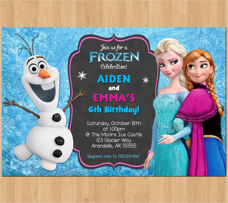sibling birthday invitation frozen