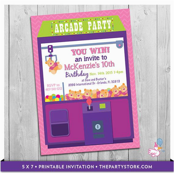arcade invitation printable personalized girls birthday