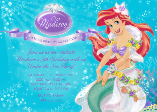 Ariel Birthday Invitations Printable Ideas Bagvania Free