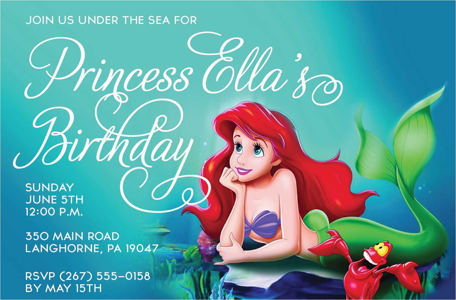 free printable birthday invitations ariel mermaid