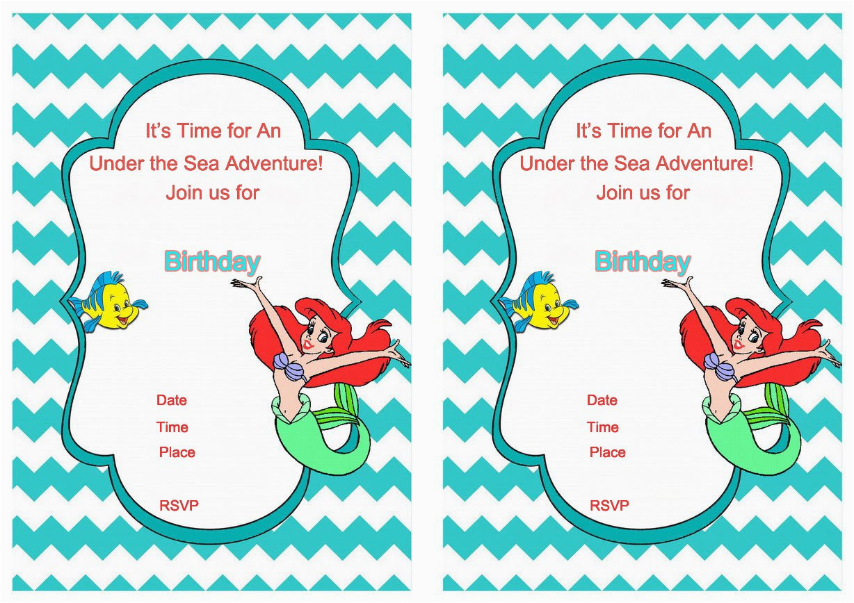 free printable mermaid birthday invitation