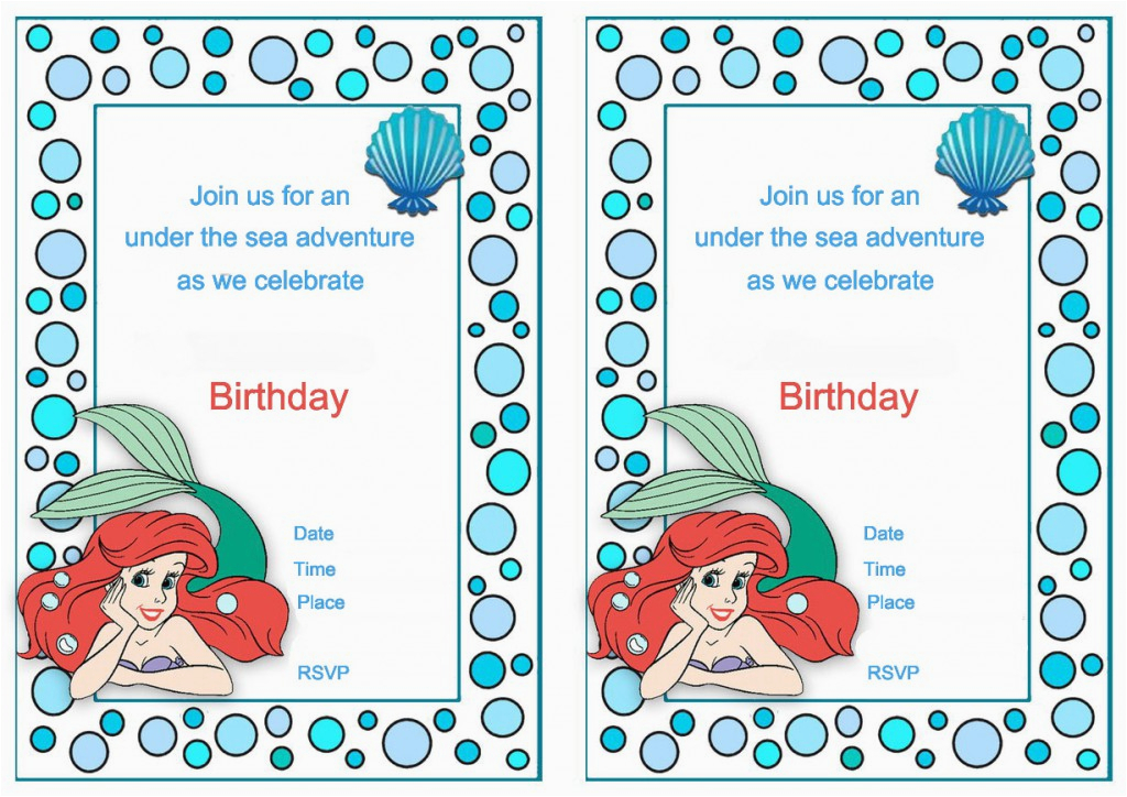 Ariel Birthday Invitations Printable Little Mermaid