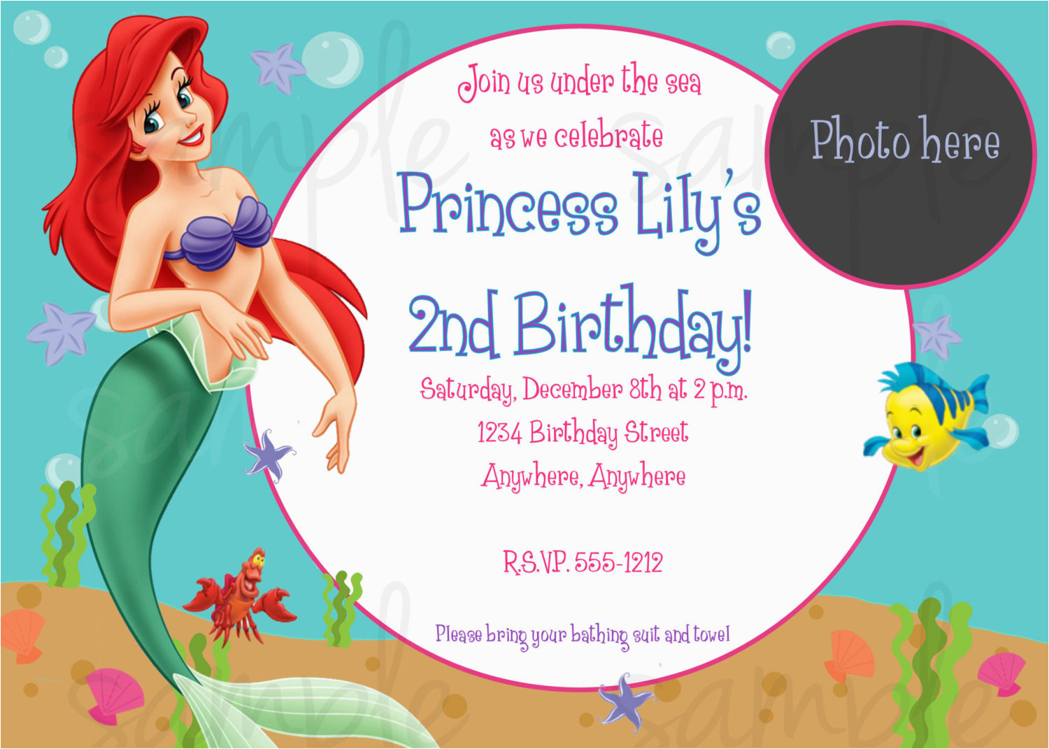 The Little Mermaid Birthday Invitations Free Printable