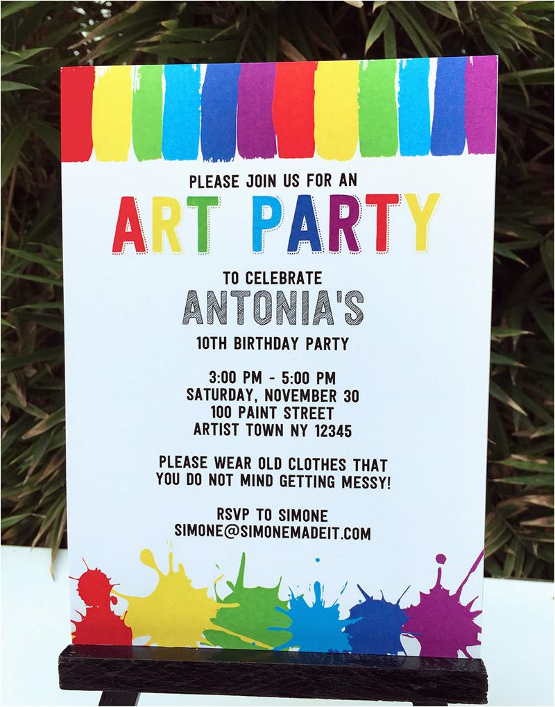Art Themed Birthday Party Invitations Birthdaybuzz