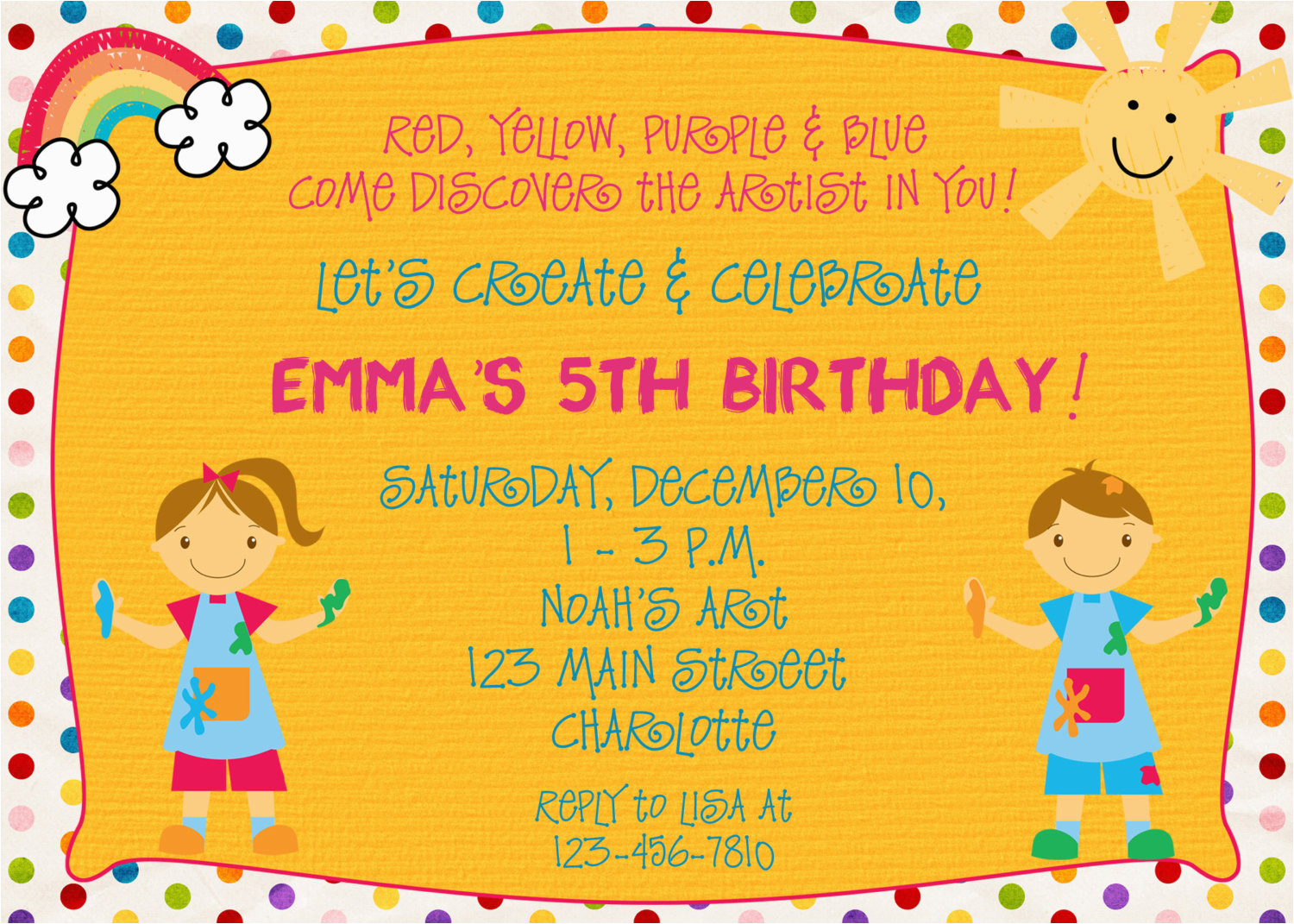 Arts And Crafts Birthday Party Invitations Free