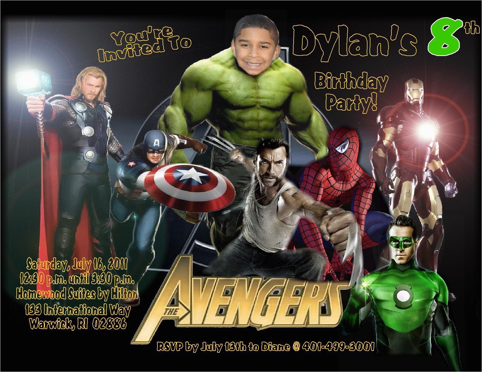 custom avengers birthday invitations