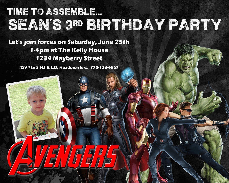 Avengers Photo Birthday Invitations Avengers Birthday Invitation Design W Child 39 S Photo