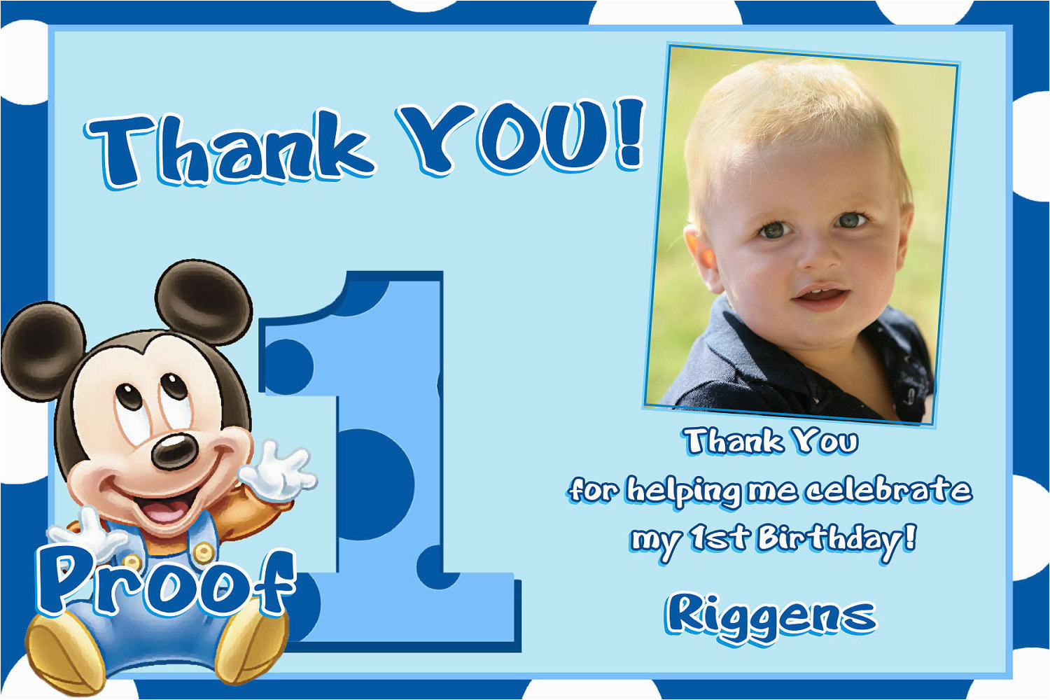 mickey mouse 1st birthday thank you cards
