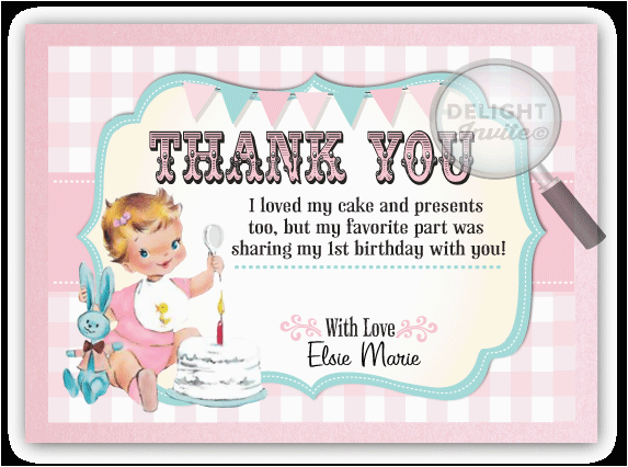 vintage baby 1st birthday thank you cards di 230ty