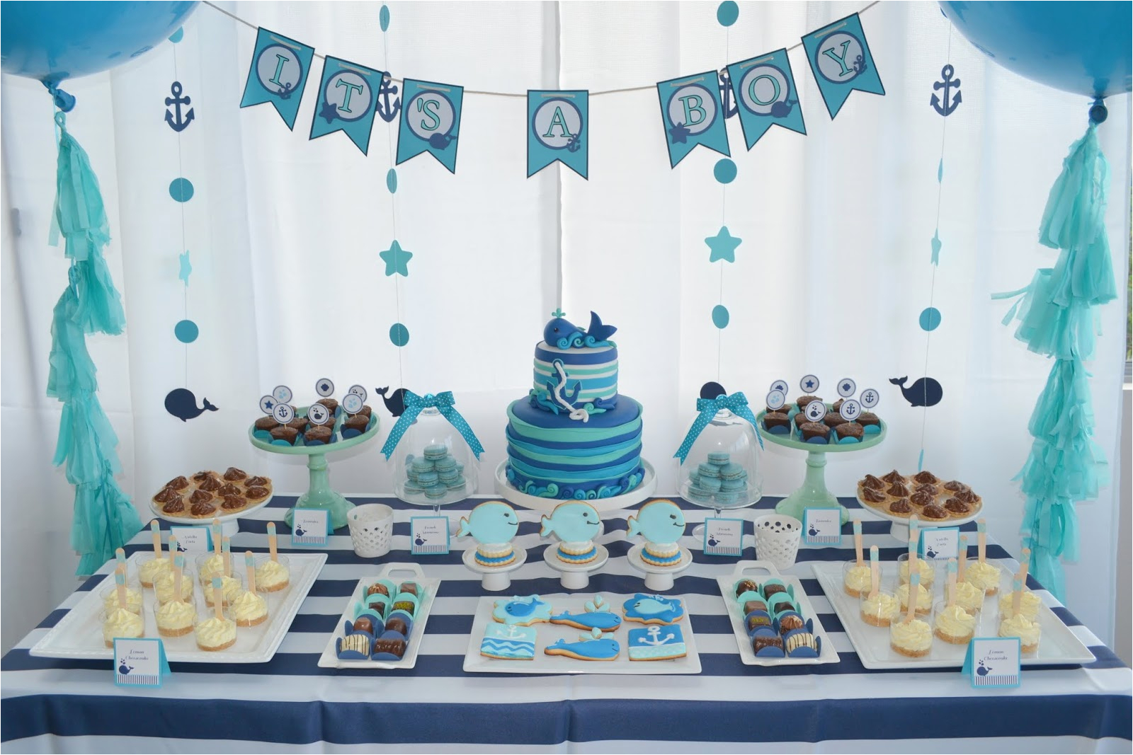 baby whale themed baby shower by partylicious
