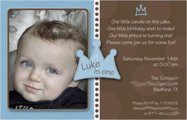 Baby Boy First Birthday Invitation Quotes 1st Little Prince