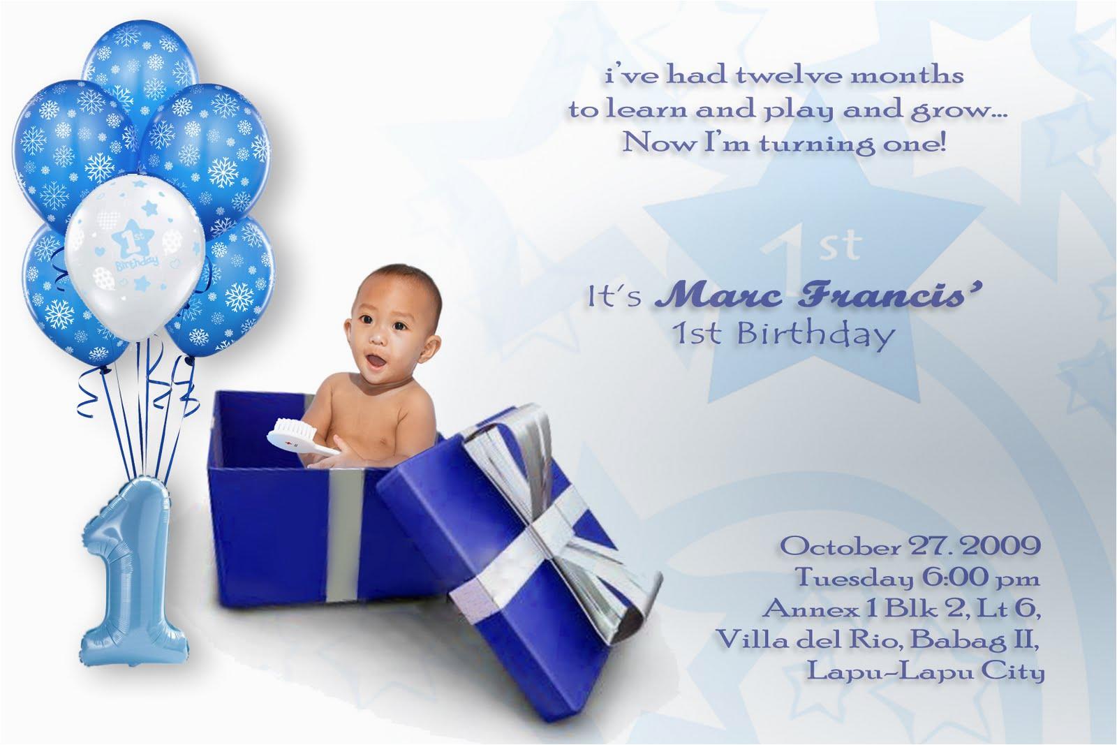 Baby Boy First Birthday Invitation Wording Invitations Free