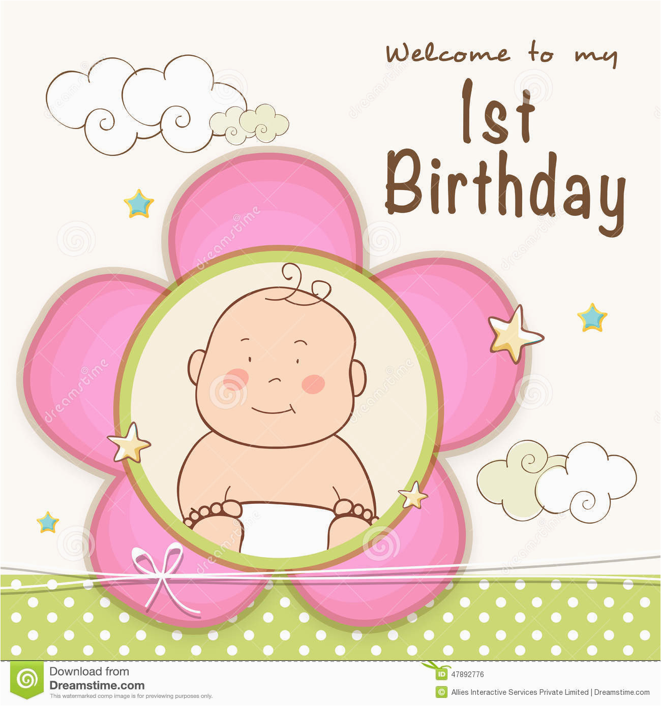 Baby First Birthday Cards Design 1st Birthday Invitation Card Design Stock Illustration