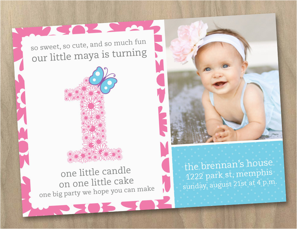 Baby Girl First Birthday Invitations With Beautiful Surroundings Of Your Invitation Cards Card And