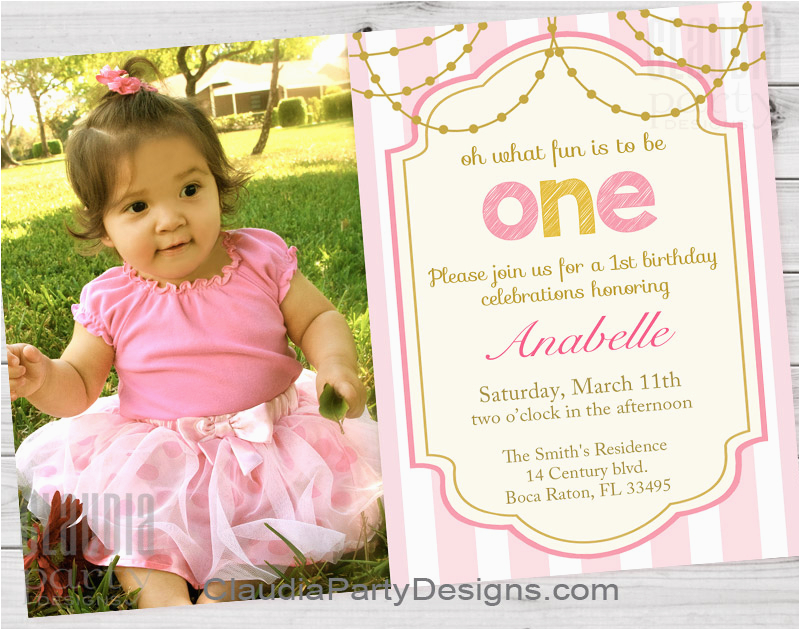 Baby Girl 1st Birthday Invitation Templates Girl First