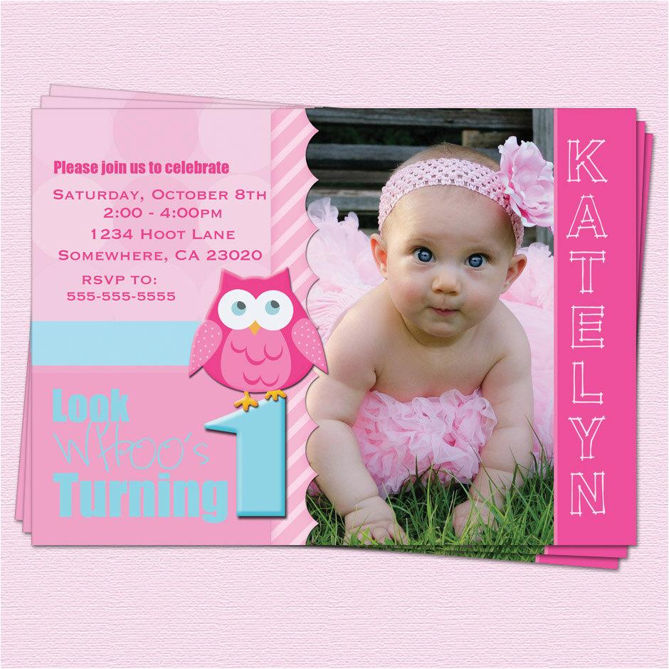Baby Girl First Birthday Invitation Wording Owl 1st Invitations Ideas Bagvania Free