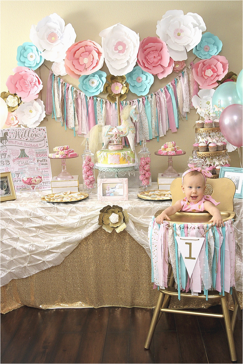Baby Girl First Birthday Party Decoration Ideas A Pink Gold Carousel 1st